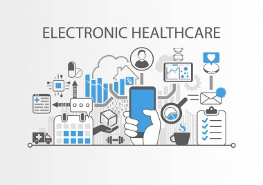 Electronic healthcare or e-health background vector illustration