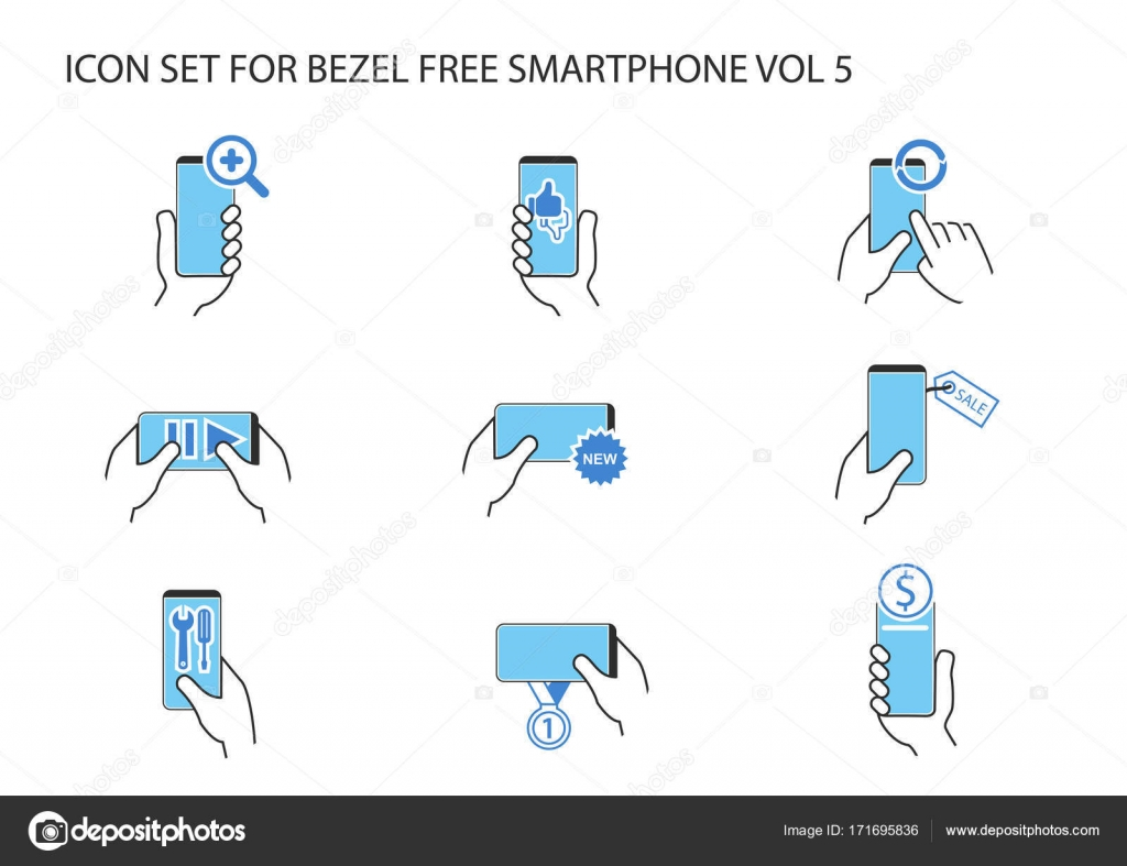 Vector Icon Set Of Hand Holding Frameless Smartphone In Different