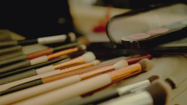 Closeup of professional makeup brushes kit