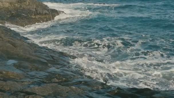 Vlny oceánu, které se zřítilo na vulkanické kamenité pláži.