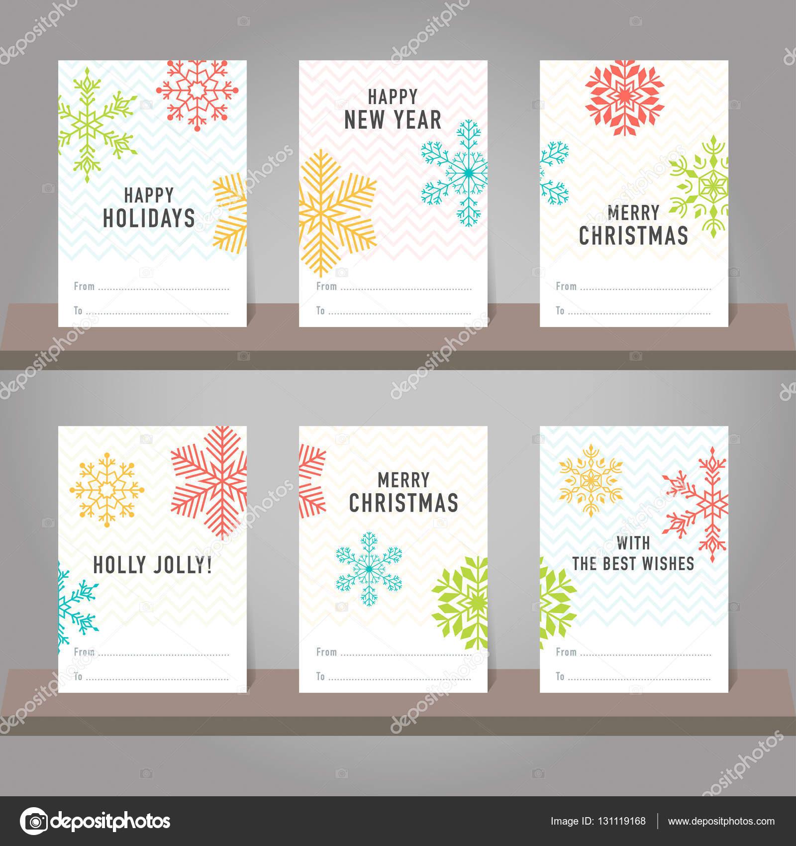 Sammlung von Weihnachten und neues Jahr Geschenk-Karte, Stichwörter ...