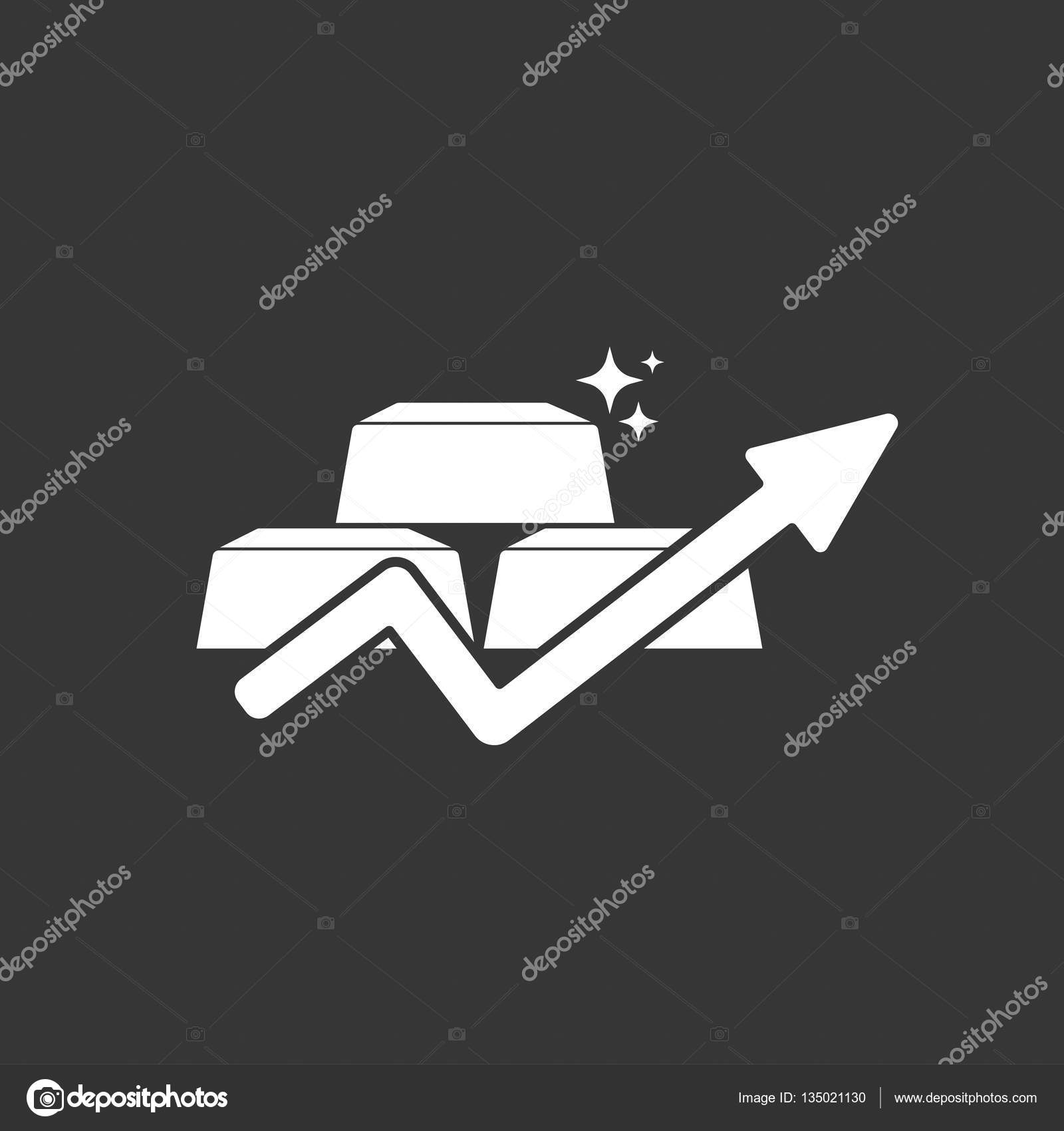 Gold Price Concept Gold And Arrow Growing Up Symbol Stock Vector