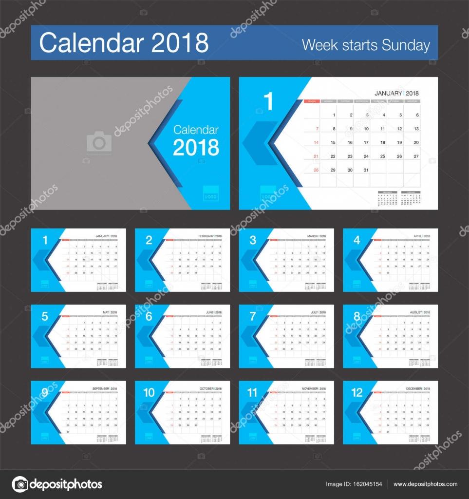2018-Kalender. Kalendervorlage modernes Design Schreibtisch ...