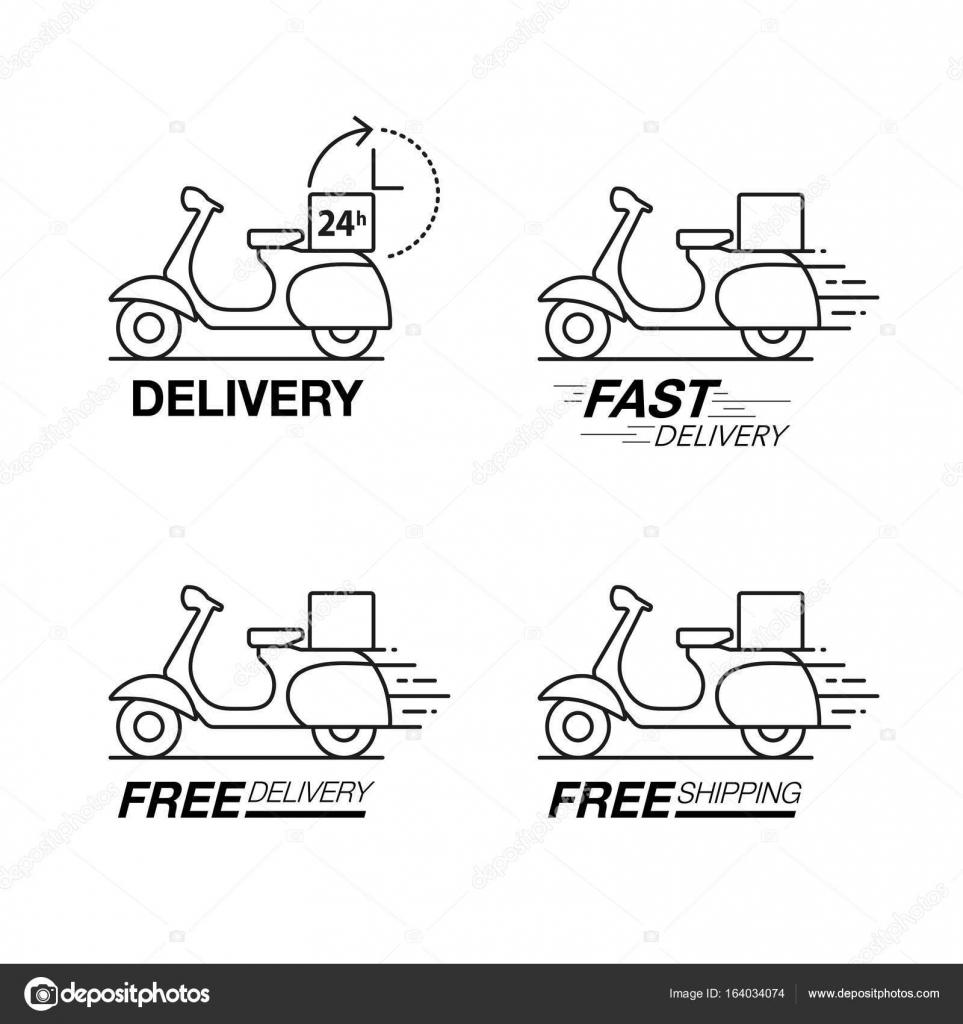 lieferung icon set roller motorrad service bestellung 24 stunden f stockvektor koson. Black Bedroom Furniture Sets. Home Design Ideas