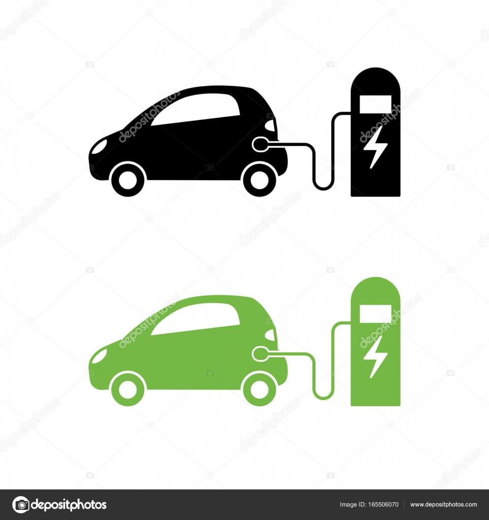 Elektroauto und elektrische Station Ladesymbol. Hybrid-Schienen ...