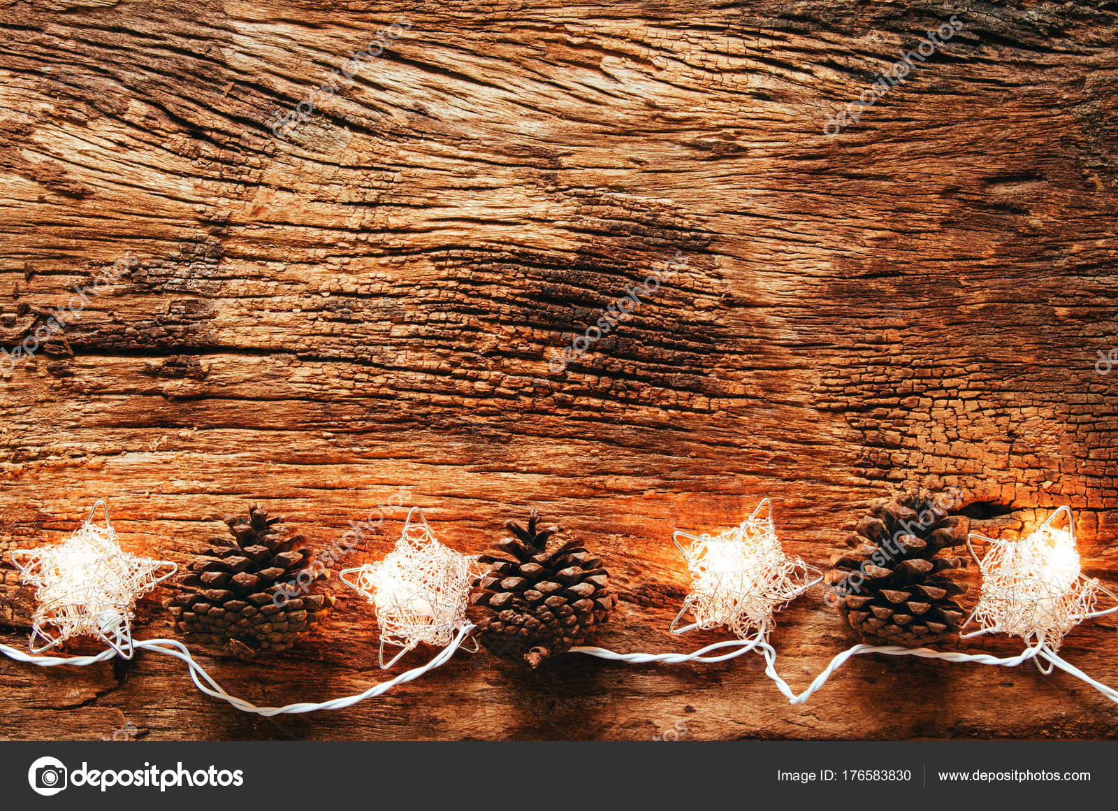 christmas holidays and happy new year background christmas lighting on wooden desk with copy space photo by kosonphotogmailcom