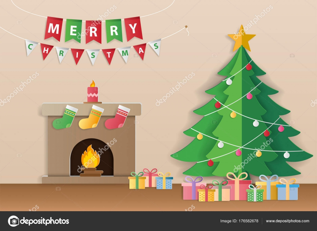Dibujos Chimeneas De Navidad.Dibujos Navidenos Para Invitaciones Arbol De Navidad
