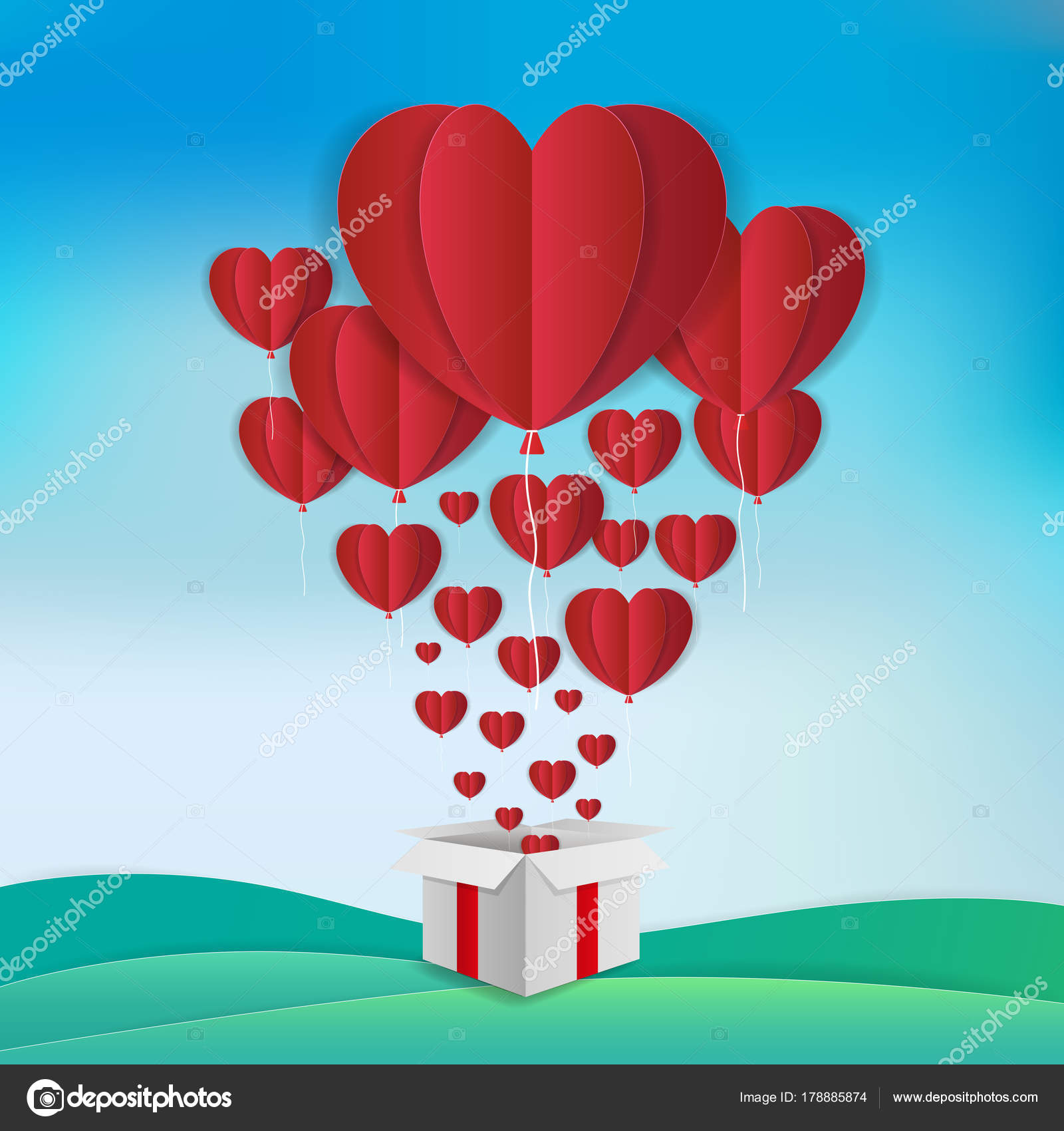 Love And Valentine Day Theme Background Red Balloons In Heart Shape