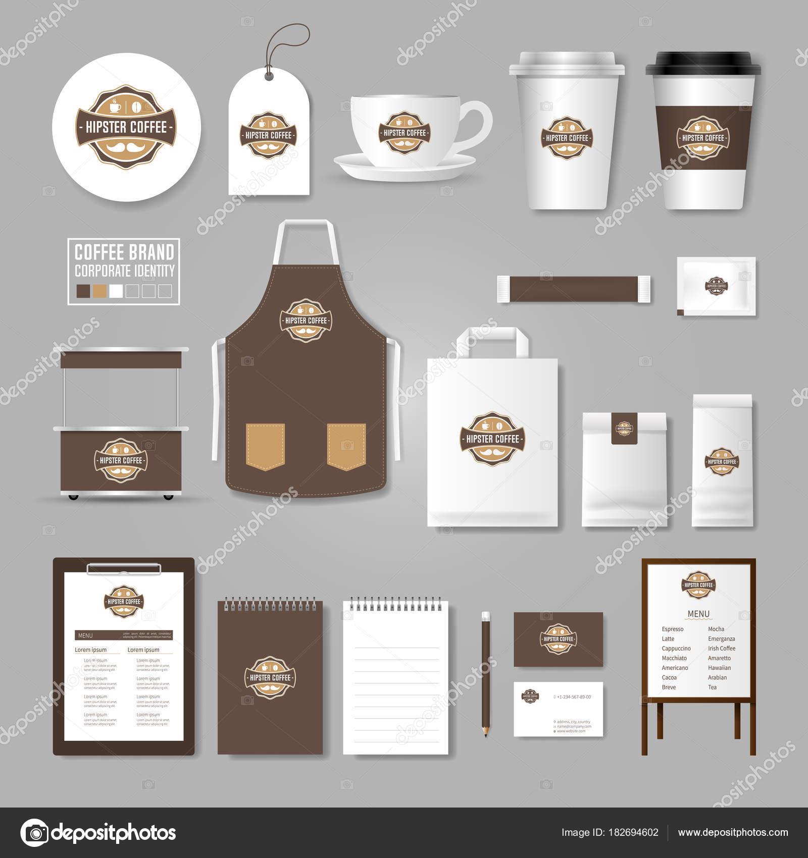 Corporate Identity-Vorlage. Logokonzept für Coffee Shop, café ...