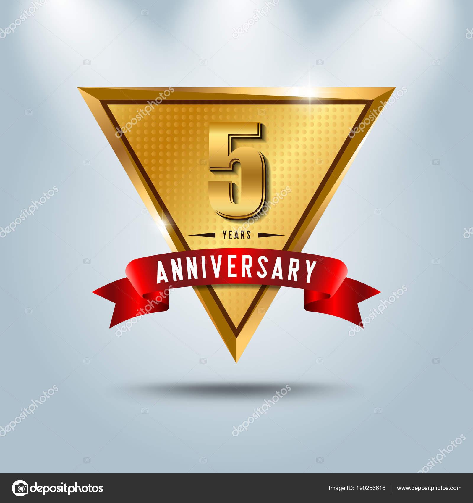5 Years Anniversary Celebration Logotype Golden Anniversary Emblem