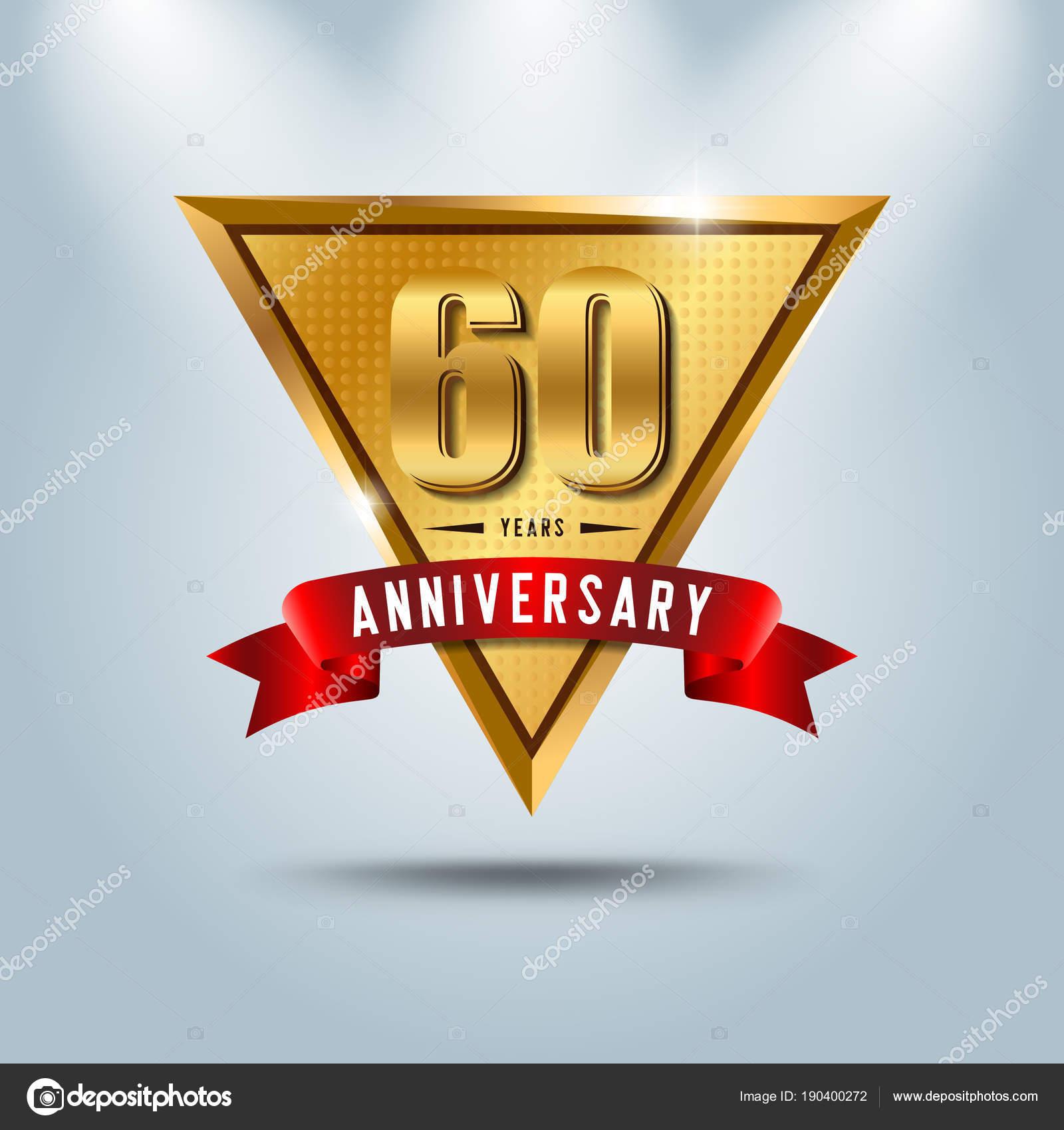60 Jahre Jubilaum Feier Logo Goldene Hochzeit Emblem Mit Rotem Band