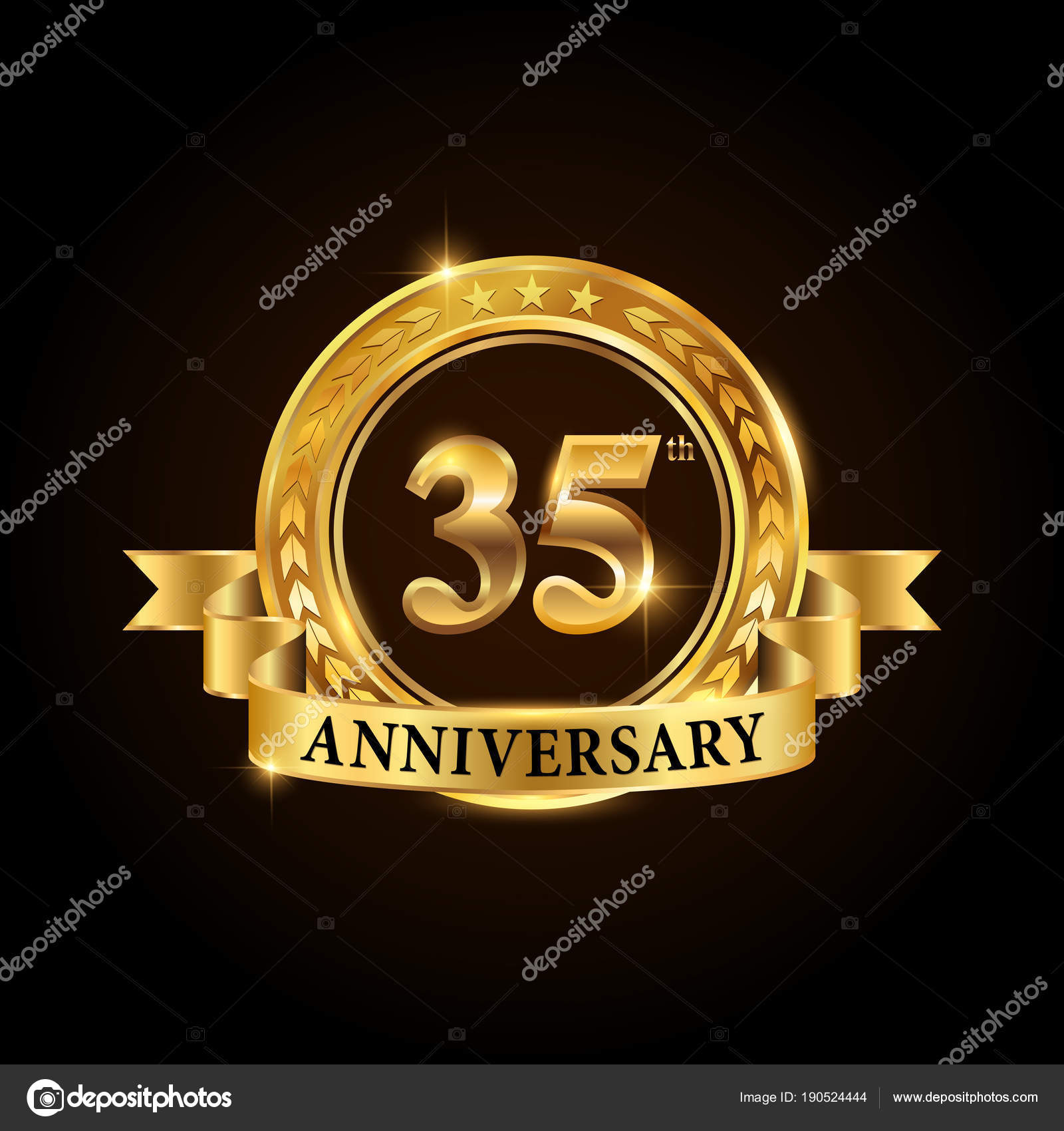 35 Years Anniversary Celebration Logotype Golden Anniversary Emblem