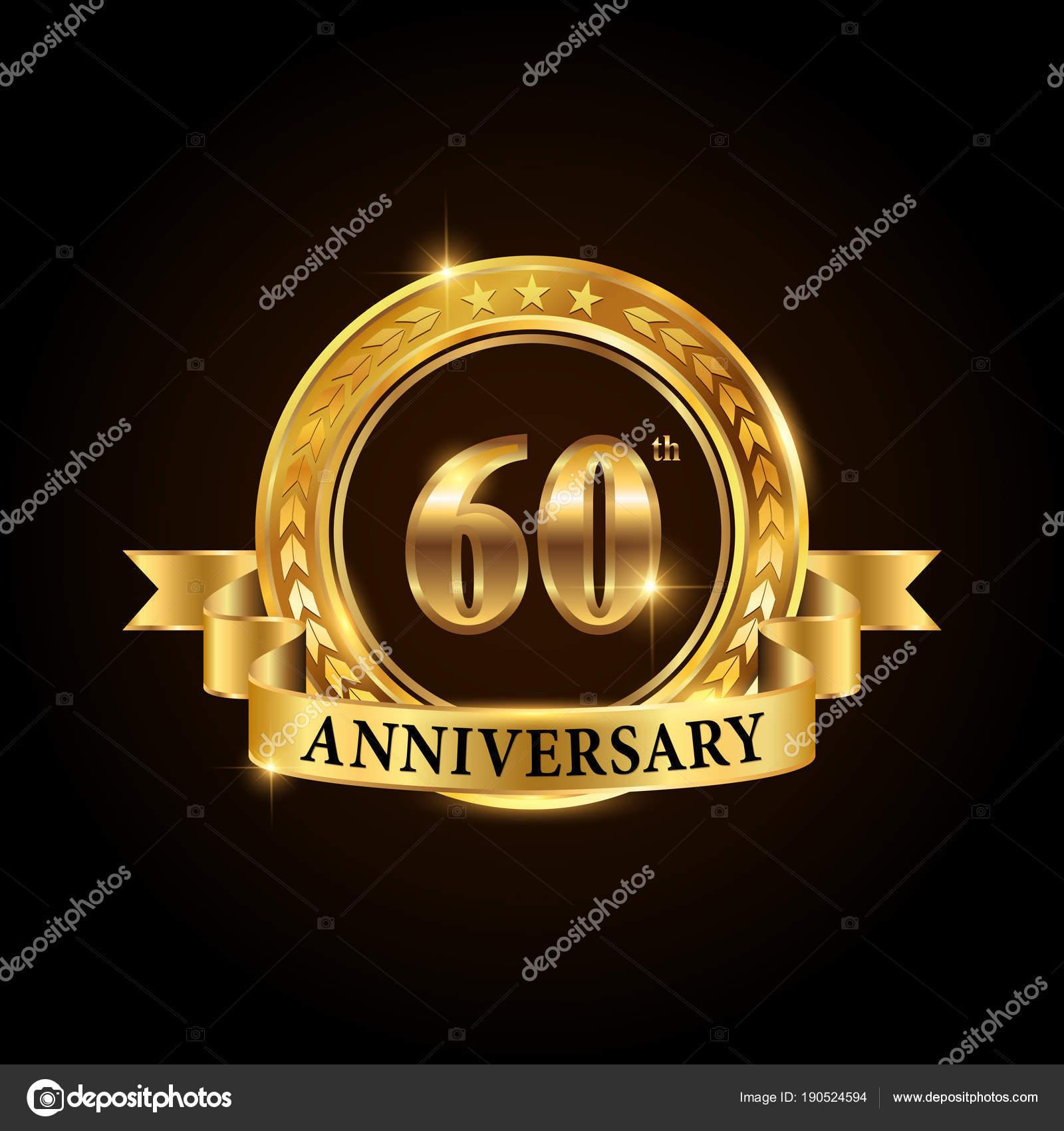 60 Jahre Jubilaum Feier Logo Goldene Hochzeit Emblem Mit Band