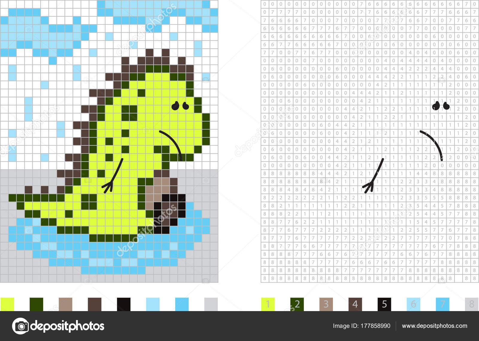 Dinosaurio en la historieta de pixel de lluvia para colorear página ...