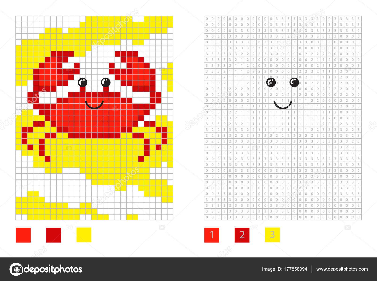 Pixel Krabbe Karikatur in der Färbung Seite mit nummerierten Plätzen ...