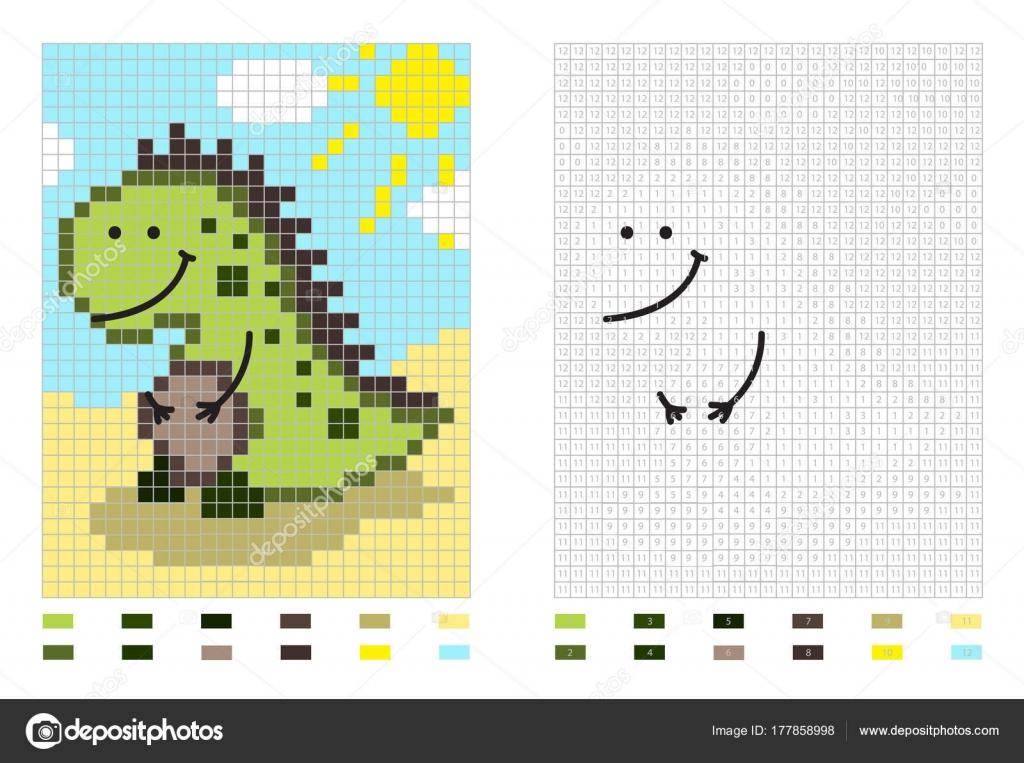 dinosaur pixel tekenfilm kleurplaten pagina door nummers