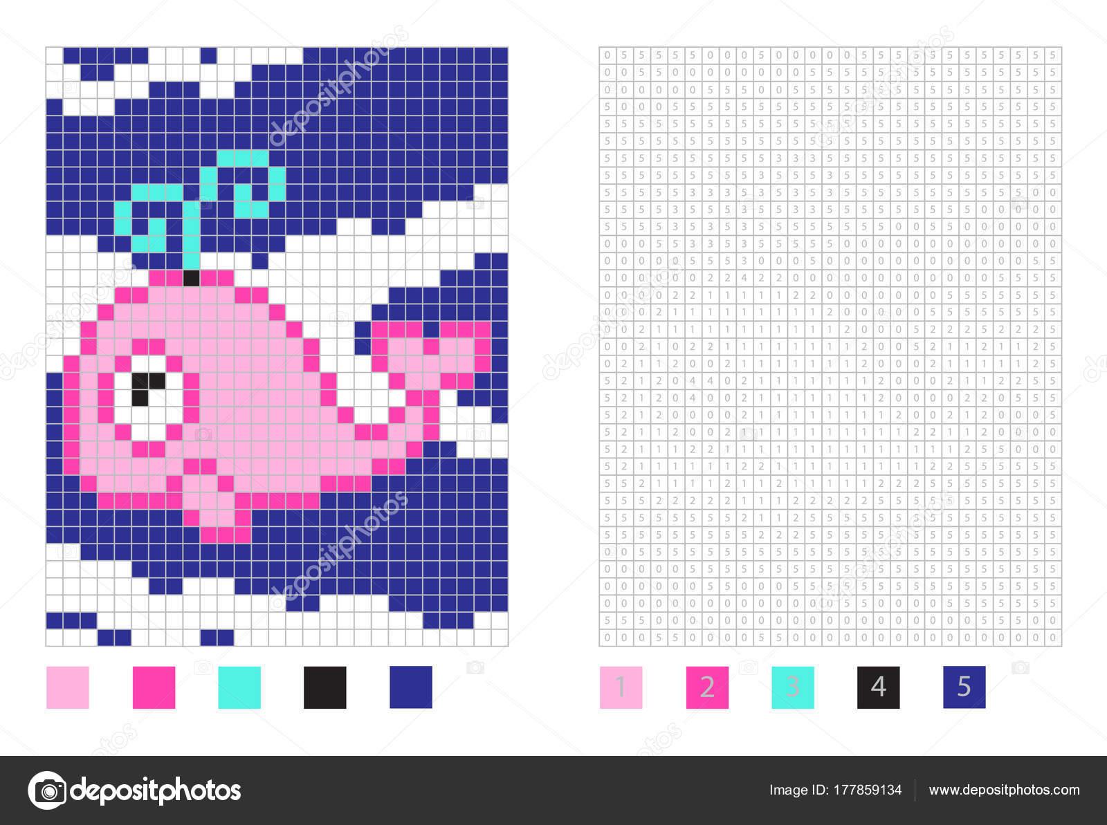 Dibujos Con Pixeles Dibujos Animados De Ballena De