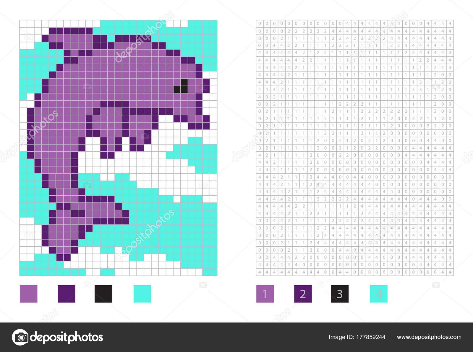 Caricature De Dauphin De Pixel Dans La Page De Coloriage