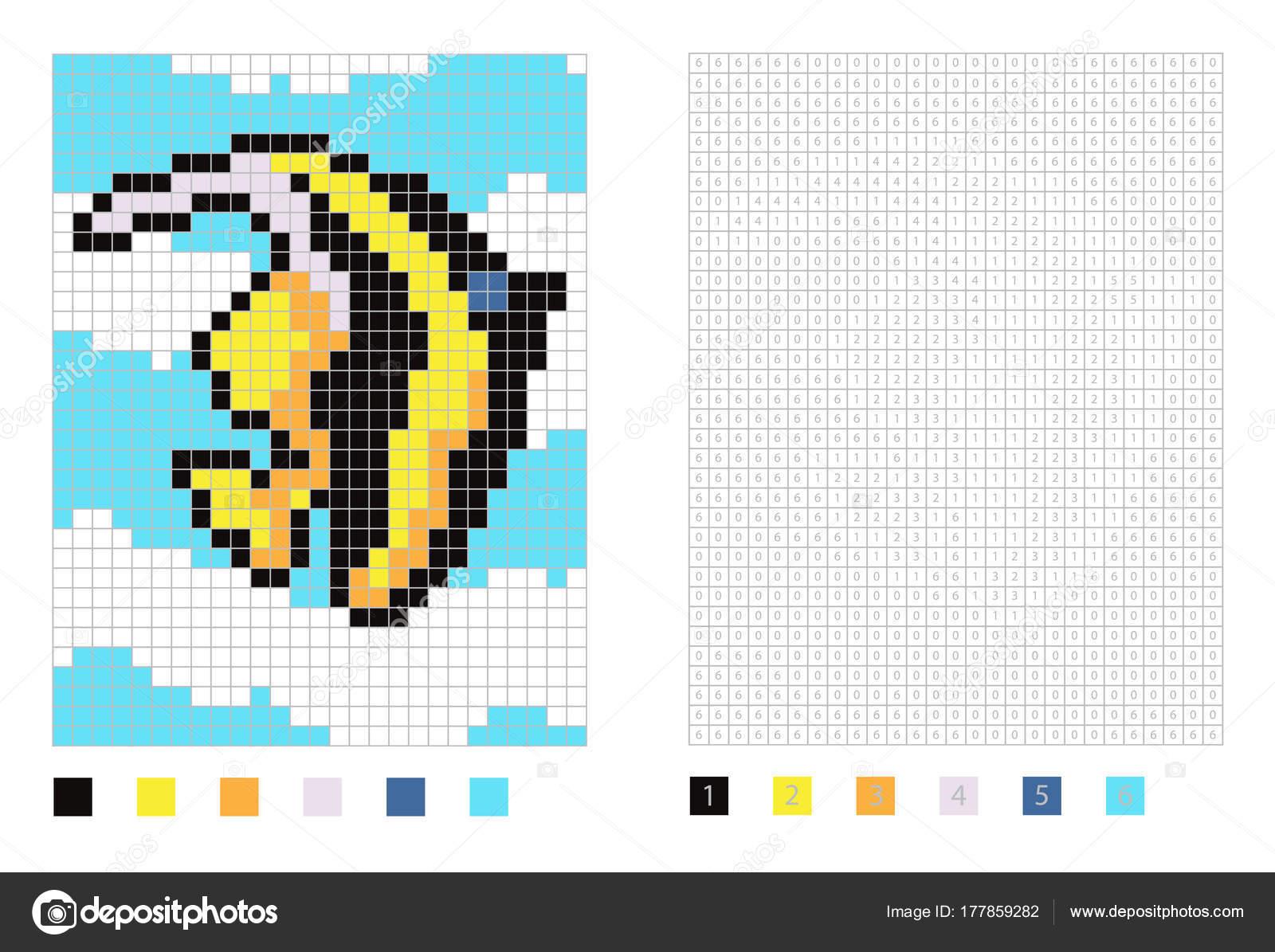 Pixel maurischen Idol Fisch Cartoon in die Malseite mit nummerierten ...