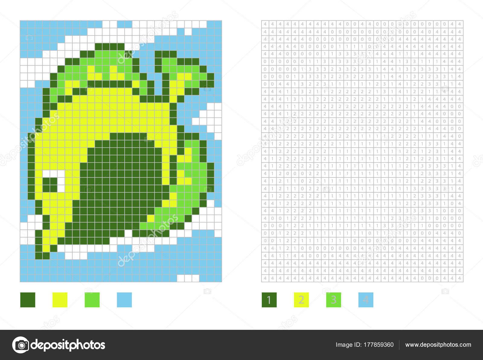 Pixel Zebrasoma Fisch Cartoon in die Malseite mit nummerierten ...