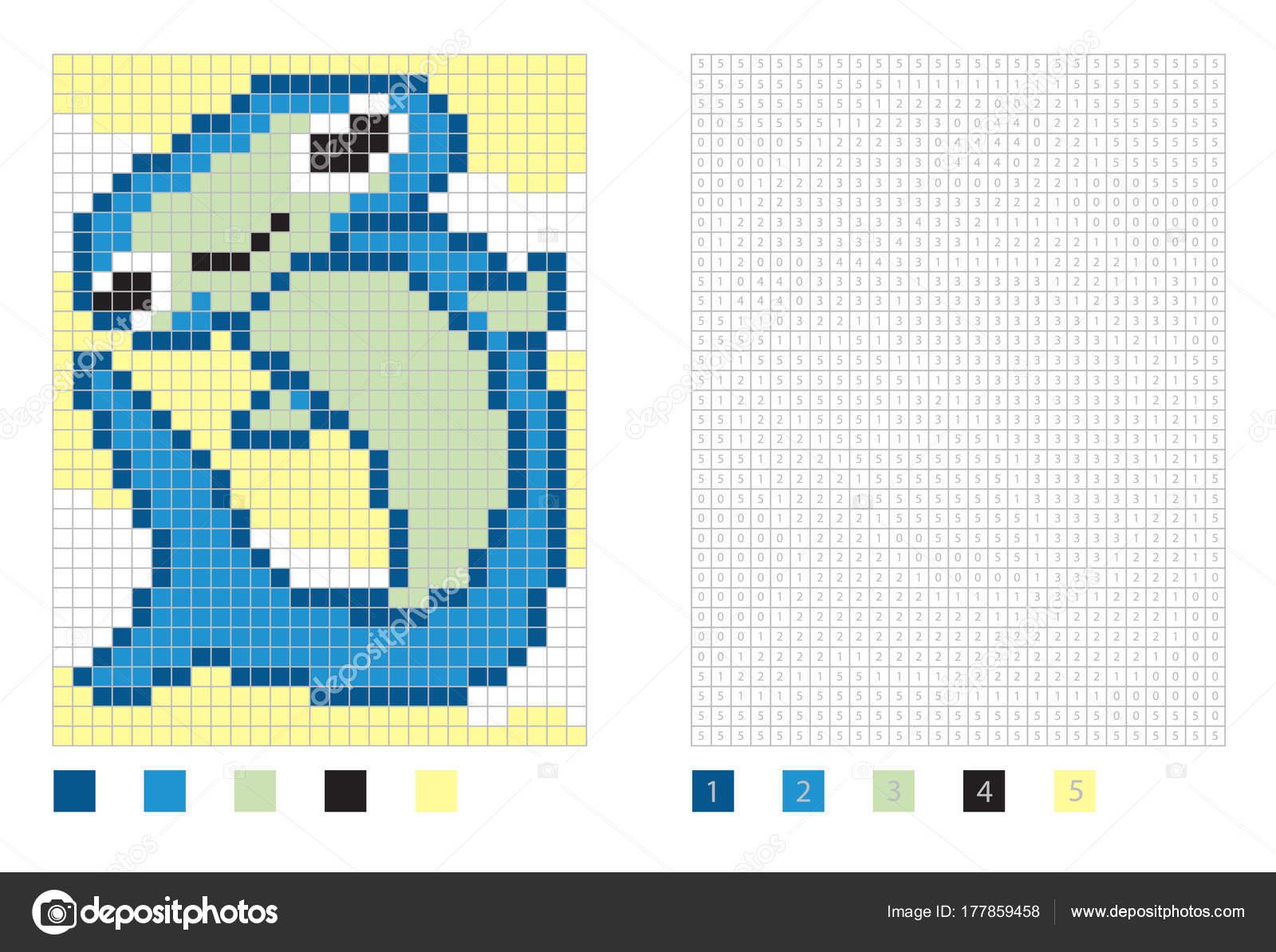 Caricatura de tiburón martillo de píxeles en la página para colorear ...