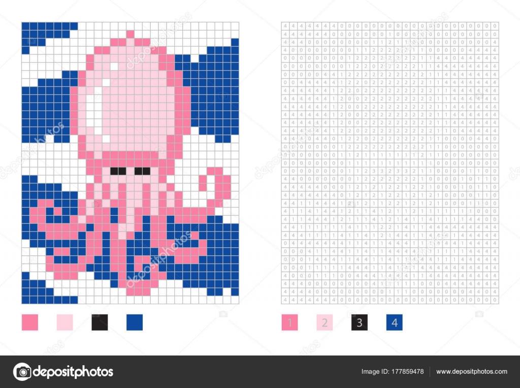 Dibujos animados de calamar de píxeles en la página para colorear ...