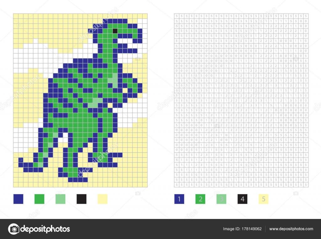 Dessin Dinosaure De Pixel Dans La Page De Coloriage Avec Des Places