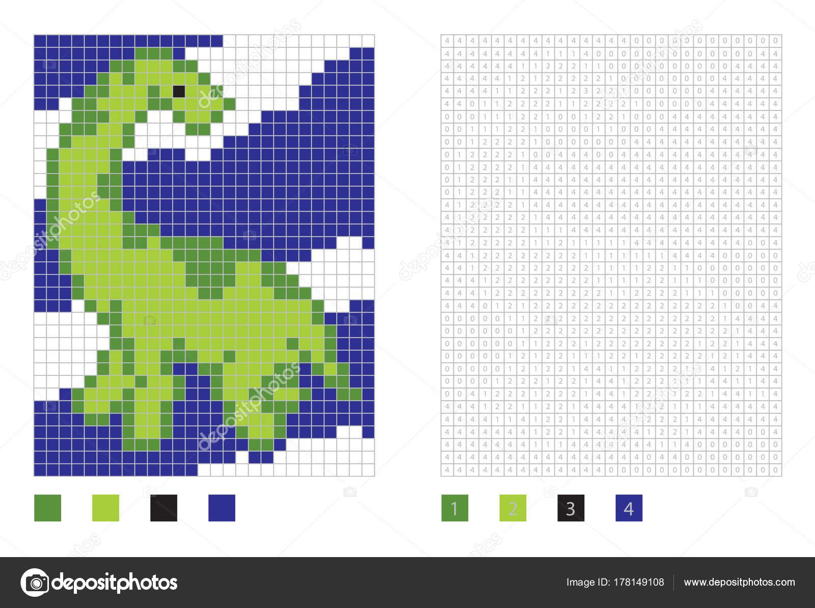 Pixel Dinosaurus Cartoon In De Kleurplaat Met Genummerde Vierkanten