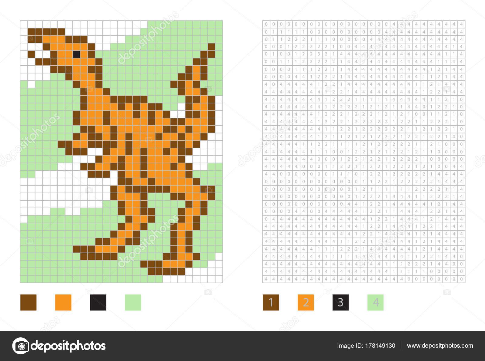 Pixel Dinosaurier Cartoon in die Malseite mit nummerierten Plätzen ...
