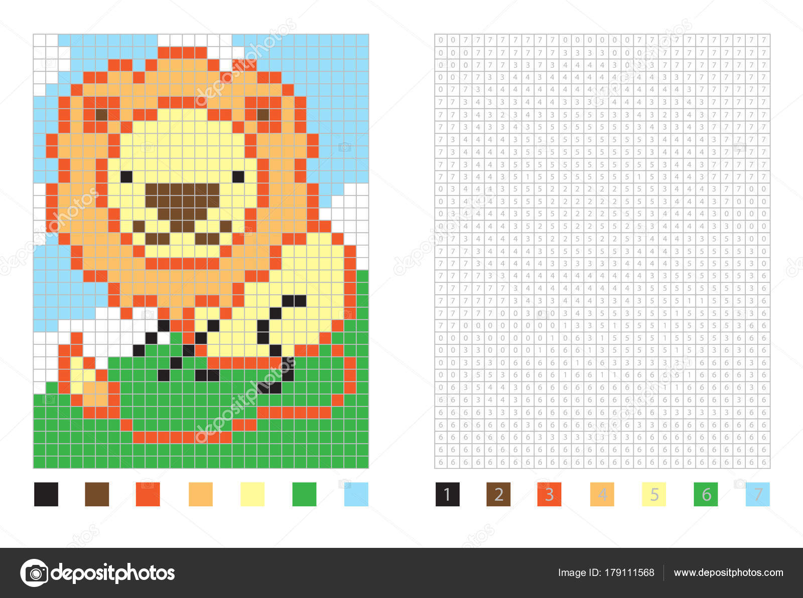 Pixel Cartoon Lion In The Coloring Page With Numbered Squares