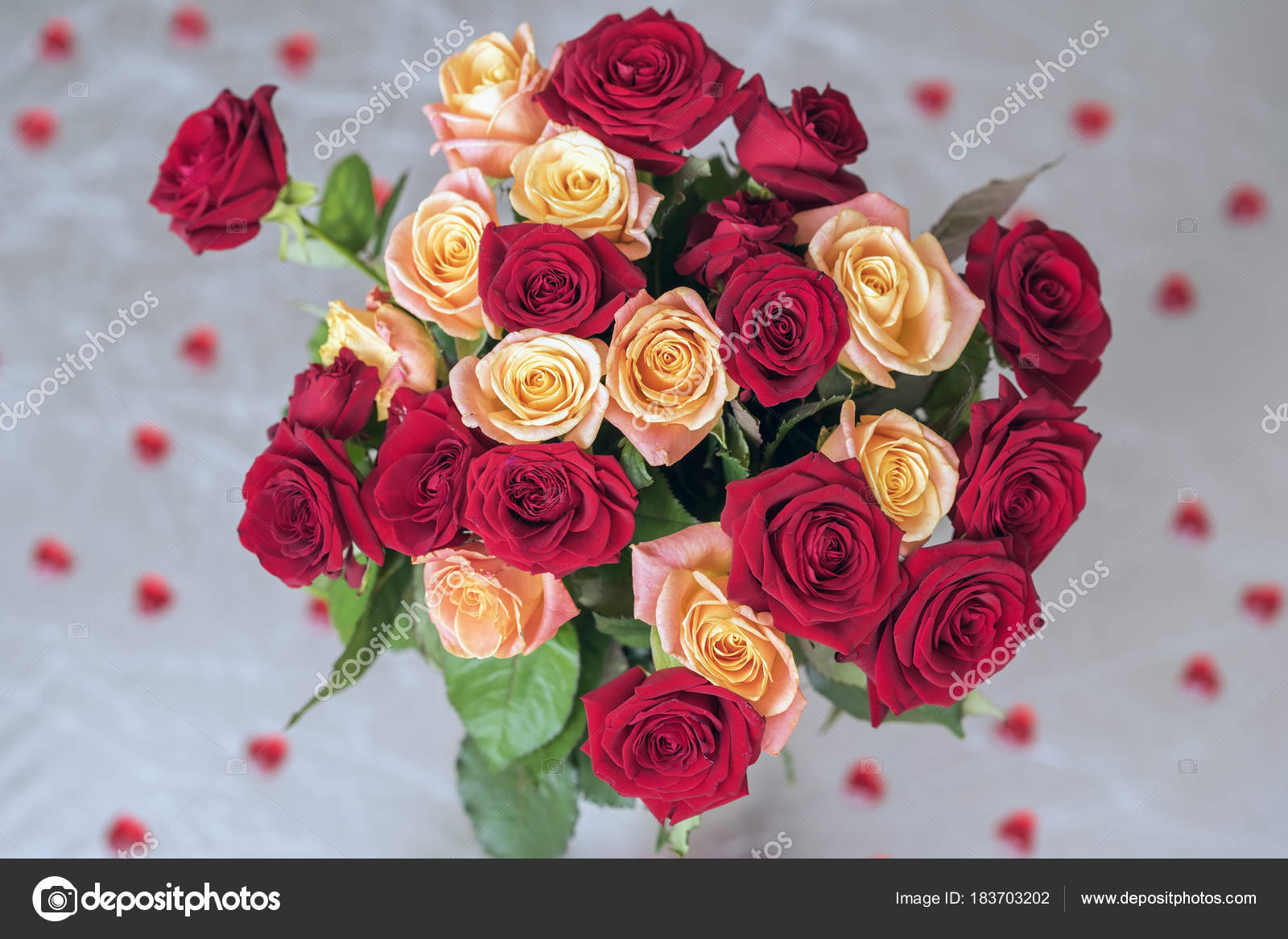 Bouquet Of Roses Of Two Colors For Beloved Many Red Hearts Top