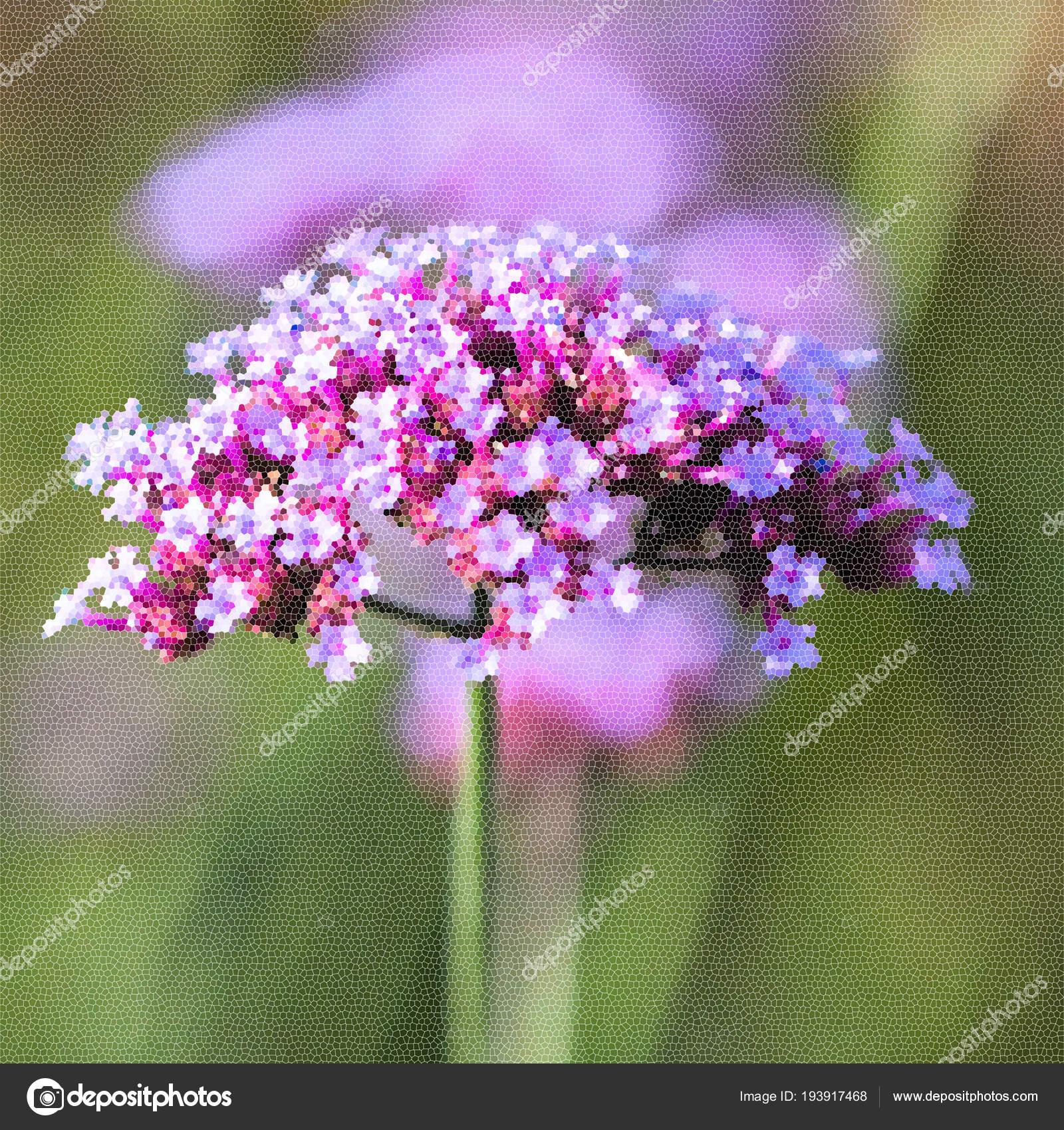 Primer Plano De Flores De Color Púrpura Vivo Imitación De Mosaico