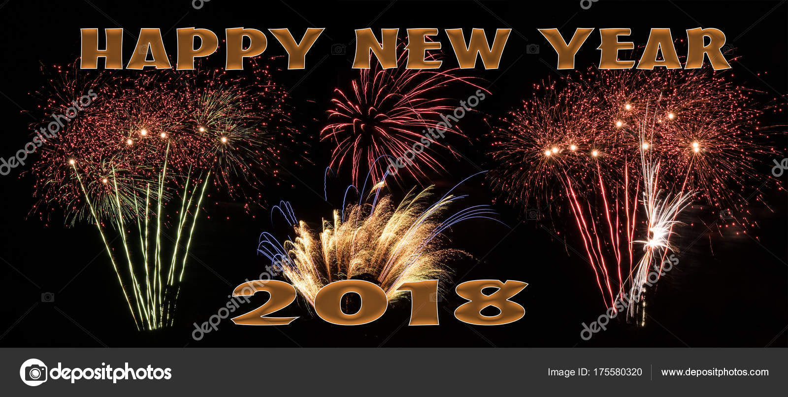 happy new year 2018 fireworks banner stock photo
