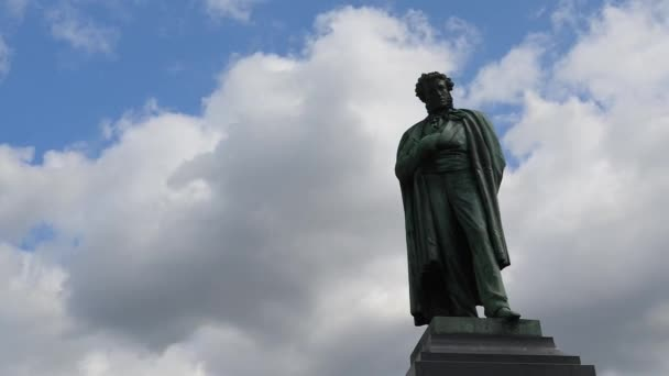 Hyperlapce Monument Pushkin at Pushkinskaya square Moscow.