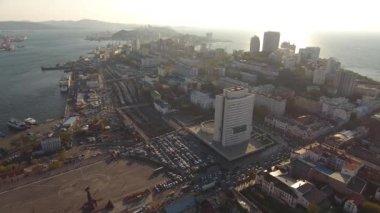 All Vladivostok capital of Primorsky Krai, unique Russia. Large business building at central square.  Commerce port Capital Far East.