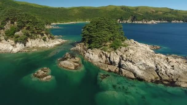 Vityaz Island of Languishing Heart. Far East Marine Biosphere Reserve Primorsky Krai Vladivostok Russia. Unique National park Japan Sea ocean.