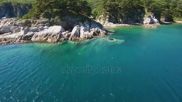 Island Languishing Heart close blue water. Far East Marine Biosphere Reserve Primorsky Krai Vladivostok Russia. Unique National park Japan Sea ocean.