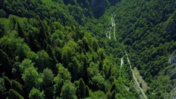 Letecký epický horský alpský kaňon mezi strmými útesy hor. Zelené husté lesní stromy na horních skalnatých svazích. Silniční hadovitá horská ledovcová řeka. Abcházie Gruzie přírodní krajina