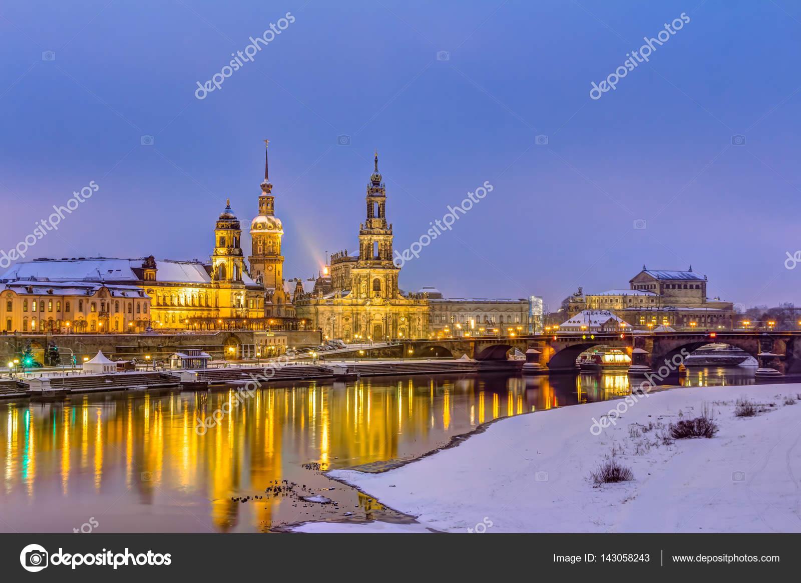 Geräumig Skyline Dresden Das Beste Von In Winter — Stock Photo