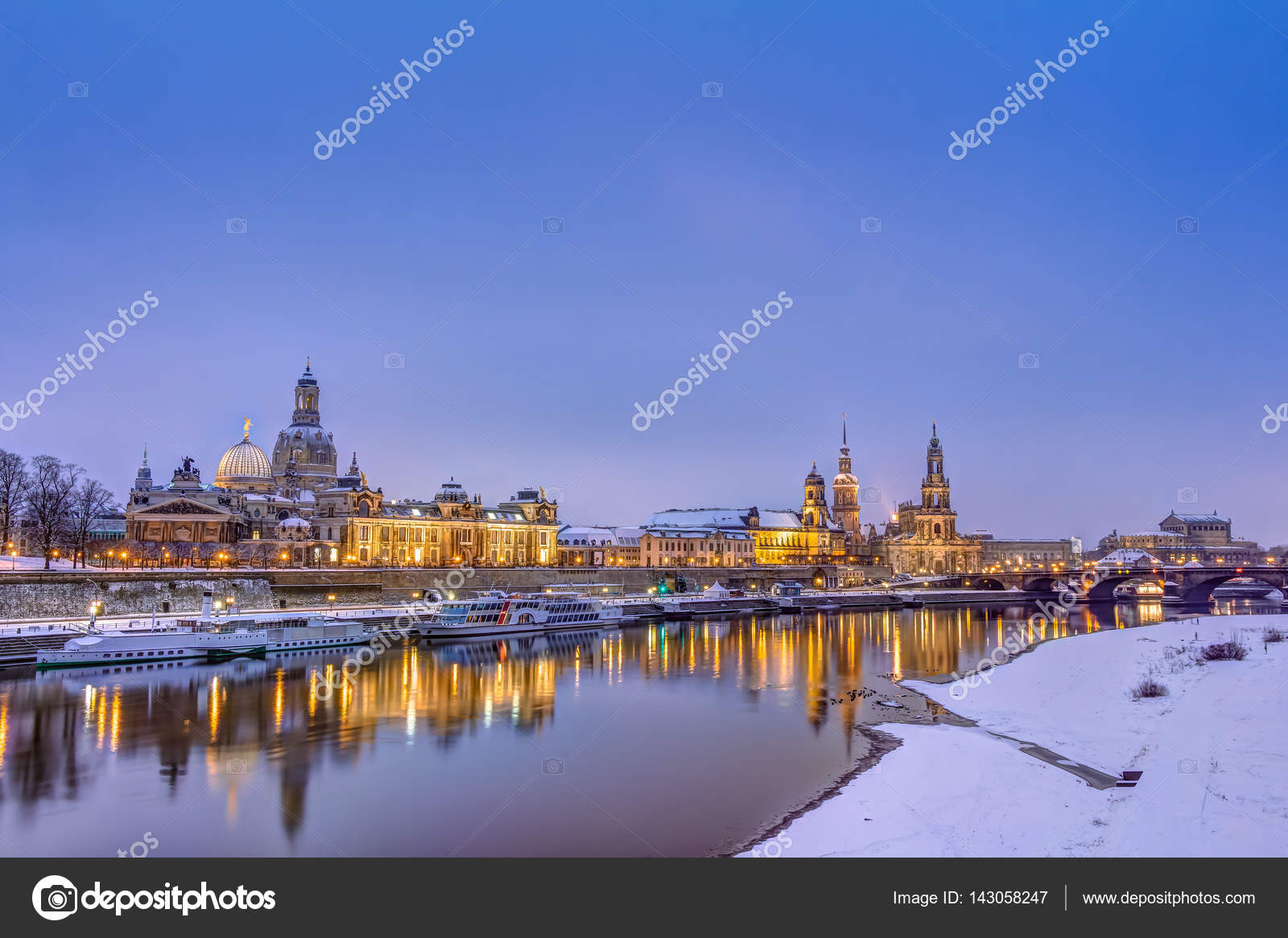 Brilliant Skyline Dresden Sammlung Von In Winter — Stock Photo