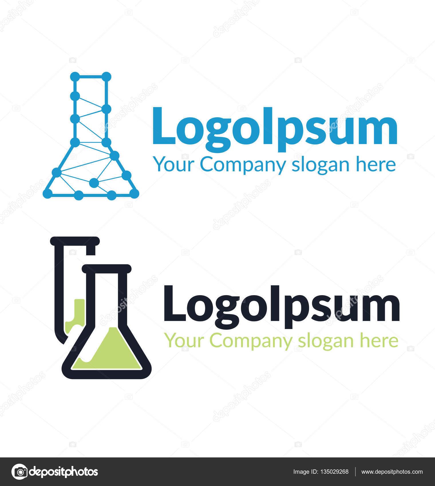 Zwei Vorlagen Logo chemischen Kolben — Stockvektor © sherishe #135029268