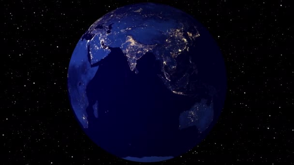 Video Footage Beautiful rotating Earth. View from Space Satellite. Cities light glow at Night.Close up from Animation planet at nigh time.3D Rendering animation using satellite imagery (NASA).4K.