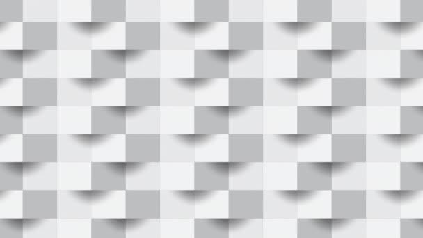 4k Absztrakt zoom fókusz fehér geometrikus alakja szürke kockák.Tégla fal négyzetek textúra.Panoráma szilárd felületi hátter.Kreatív design zökkenőmentes minimális modern minta tapéta felvételek videó