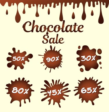 Chocolate sale icons, vector illustration stock vector