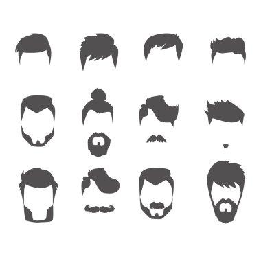 Men hairstyle icons set