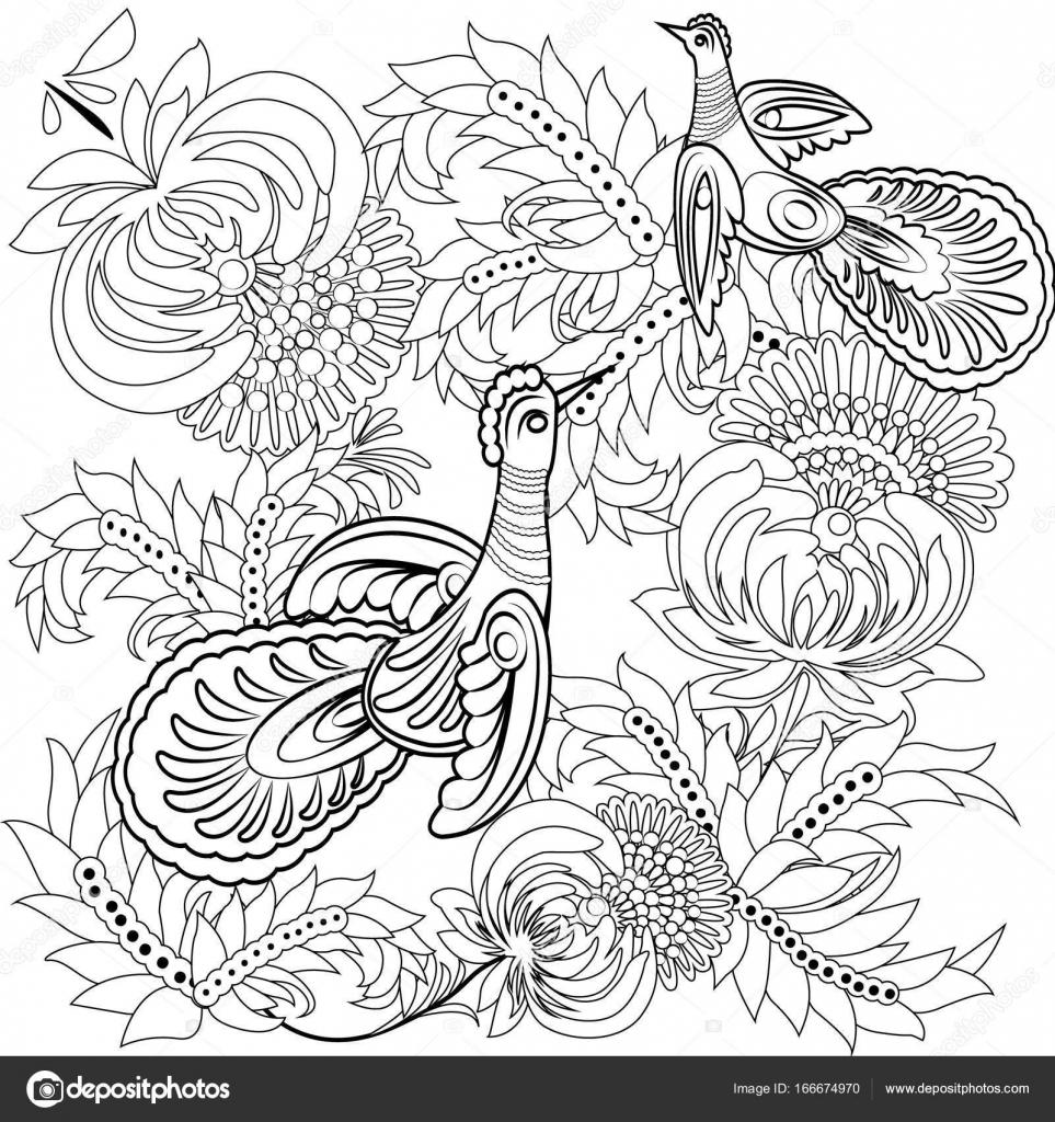 Tropische Vögel und Blumen. Malbuch für Erwachsene und ältere Kinder ...