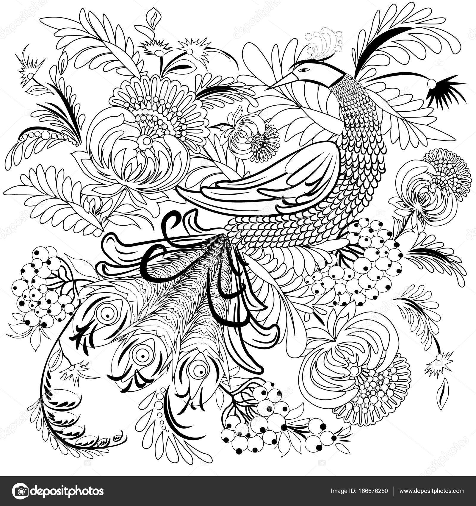 Tropical Wild Bird And Flowers Coloring Book For Adult Older