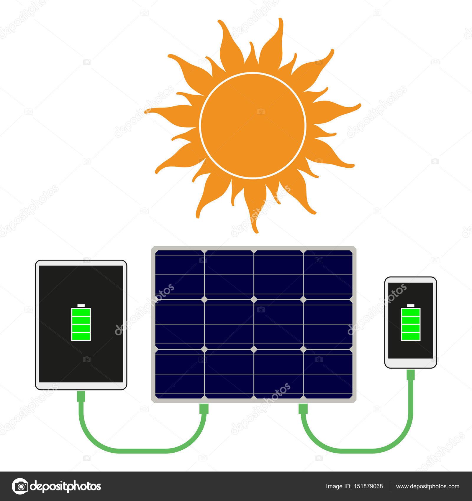 Sun & solar panel — Stock Vector © aregfly #151879068