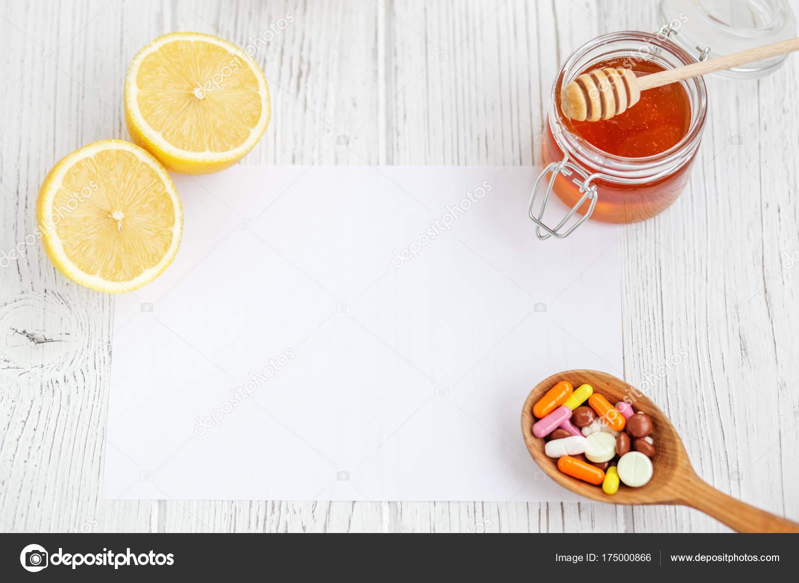 Honung Och Citron Tabletter Ett Recept Ark Begreppet Sjukdom