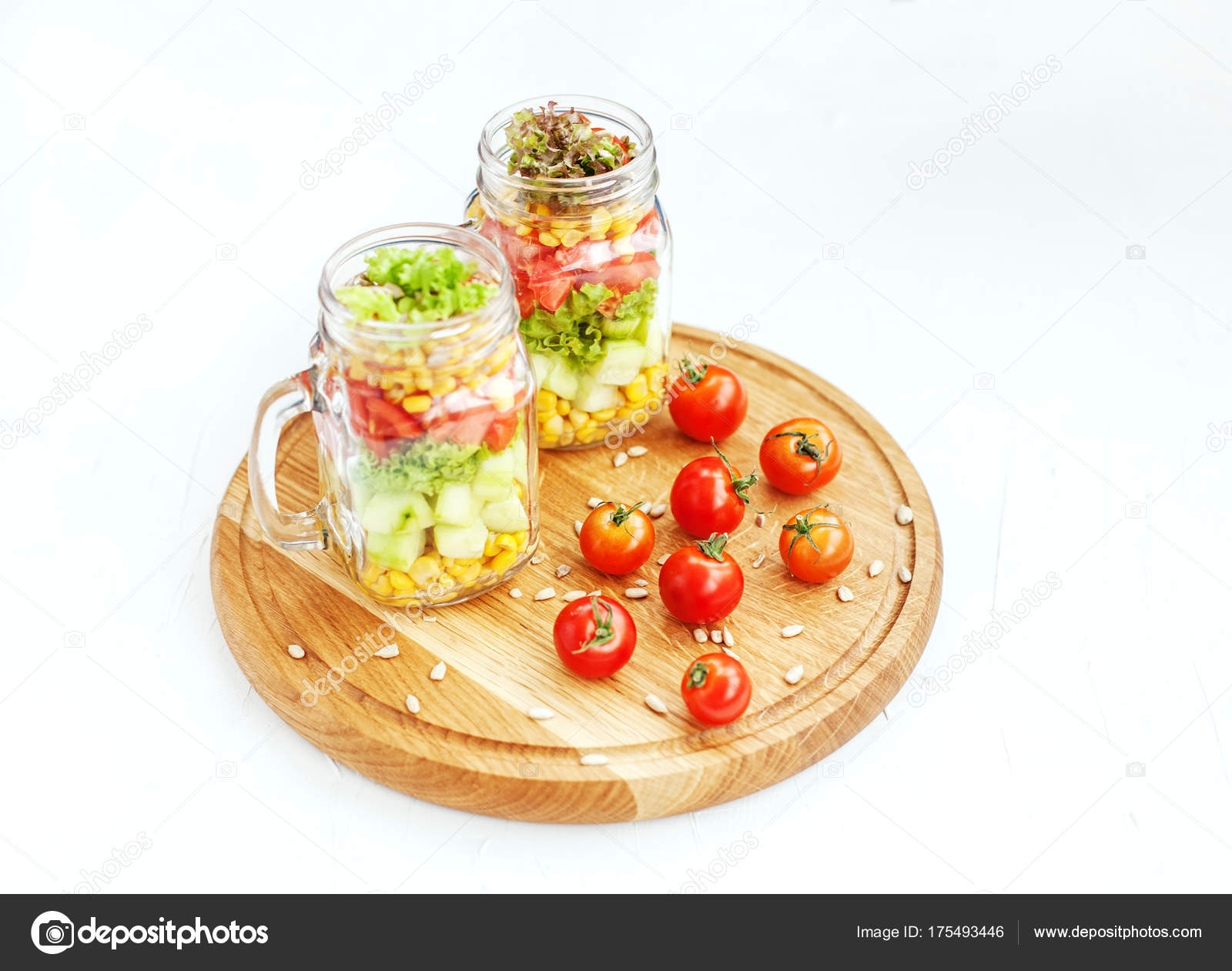 Vegetable salad with cucumbers, tomatoes and corn  Healthy